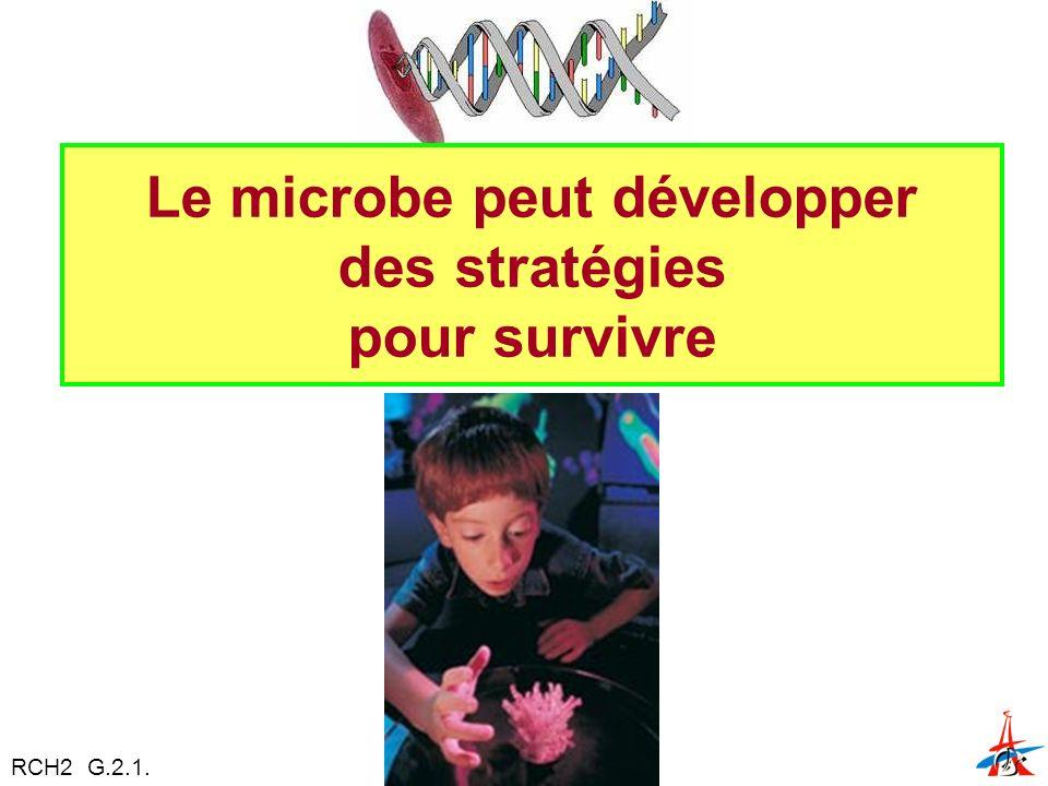 Le microbe peut développer des stratégies pour survivre RCH2 G.2.1.