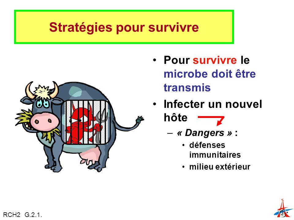 Stratégies pour survivre Pour survivre le microbe doit être transmis Infecter un nouvel hôte –« Dangers » : défenses immunitaires milieu extérieur RCH