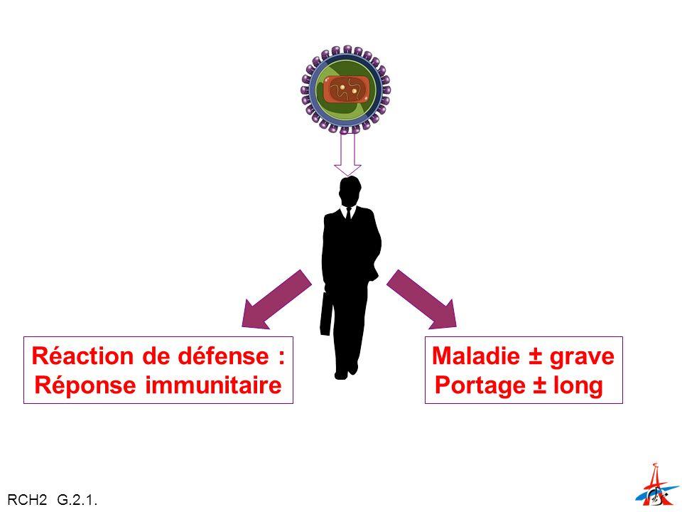 Réaction de défense : Réponse immunitaire Maladie ± grave Portage ± long RCH2 G.2.1.