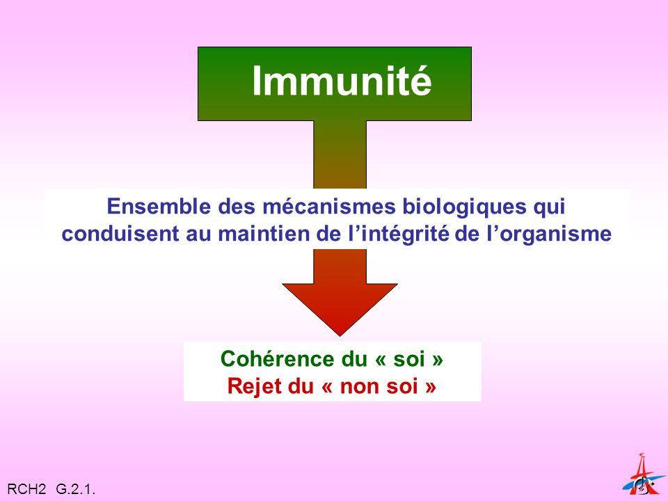 Immunité Ensemble des mécanismes biologiques qui conduisent au maintien de lintégrité de lorganisme Cohérence du « soi » Rejet du « non soi » RCH2 G.2.1.