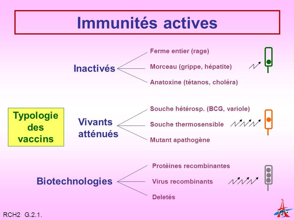 Immunités actives Typologie des vaccins Inactivés Vivants atténués Ferme entier (rage) Morceau (grippe, hépatite) Anatoxine (tétanos, choléra) Biotechnologies Souche hétérosp.