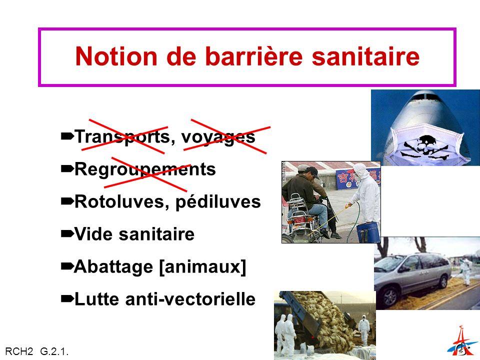 Notion de barrière sanitaire Transports, voyages Regroupements Rotoluves, pédiluves Vide sanitaire Abattage [animaux] Lutte anti-vectorielle RCH2 G.2.1.