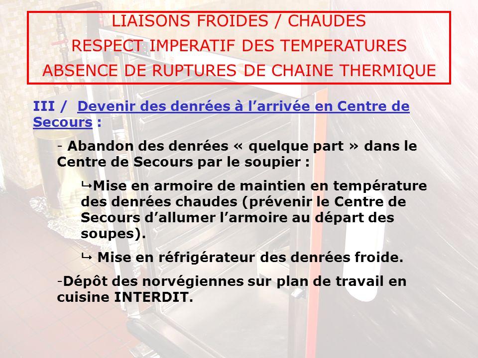 LIAISONS FROIDES / CHAUDES RESPECT IMPERATIF DES TEMPERATURES ABSENCE DE RUPTURES DE CHAINE THERMIQUE III / Devenir des denrées à larrivée en Centre d
