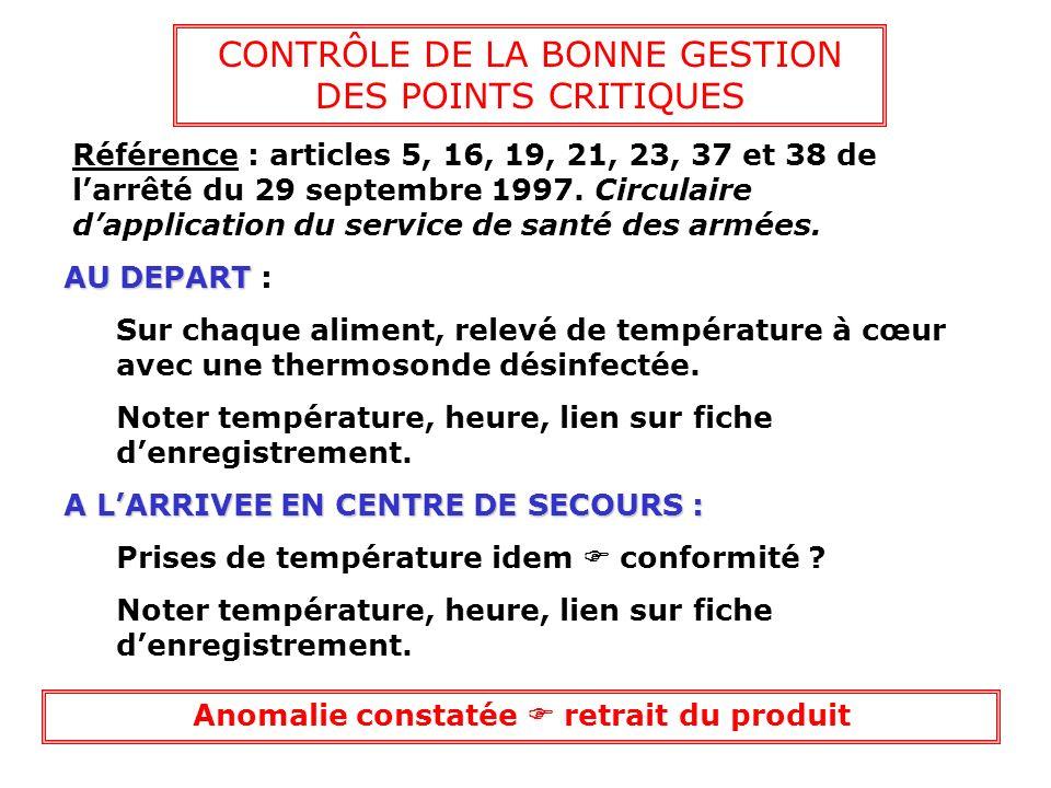 CONTRÔLE DE LA BONNE GESTION DES POINTS CRITIQUES Référence : articles 5, 16, 19, 21, 23, 37 et 38 de larrêté du 29 septembre 1997. Circulaire dapplic