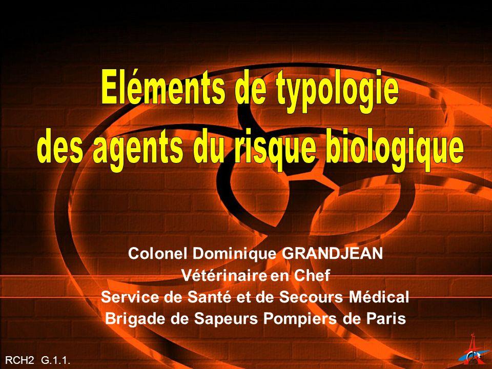 Scénarios bioterroristes envisageables Autres possibilités Sabotage Toxination VectorisationPortage Fausse alerte Engin improvisé RCH2 G.1.1.