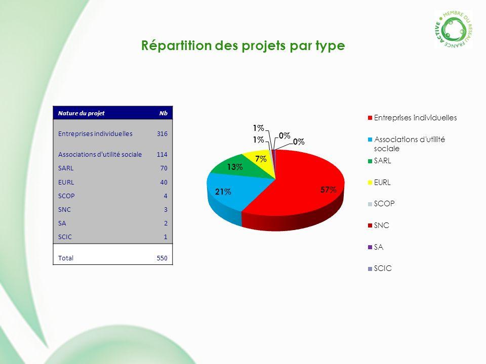 Répartition des projets par type Nature du projetNb Entreprises individuelles316 Associations d'utilité sociale114 SARL70 EURL40 SCOP4 SNC3 SA2 SCIC1