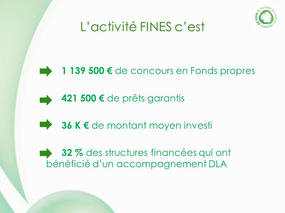 Lactivité FINES cest 1 139 500 de concours en Fonds propres 421 500 de prêts garantis 36 K de montant moyen investi 32 % des structures financées qui ont bénéficié dun accompagnement DLA