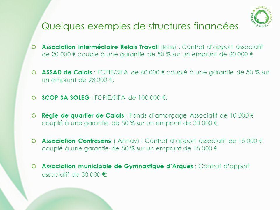 Quelques exemples de structures financées Association Intermédiaire Relais Travail (lens) : Contrat dapport associatif de 20 000 couplé à une garantie de 50 % sur un emprunt de 20 000 ASSAD de Calais : FCPIE/SIFA de 60 000 couplé à une garantie de 50 % sur un emprunt de 28 000 ; SCOP SA SOLEG : FCPIE/SIFA de 100 000 ; Régie de quartier de Calais : Fonds damorçage Associatif de 10 000 couplé à une garantie de 50 % sur un emprunt de 30 000 ; Association Contresens ( Annay) : Contrat dapport associatif de 15 000 couplé à une garantie de 50 % sur un emprunt de 15 000 Association municipale de Gymnastique dArques : Contrat dapport associatif de 30 000 ;