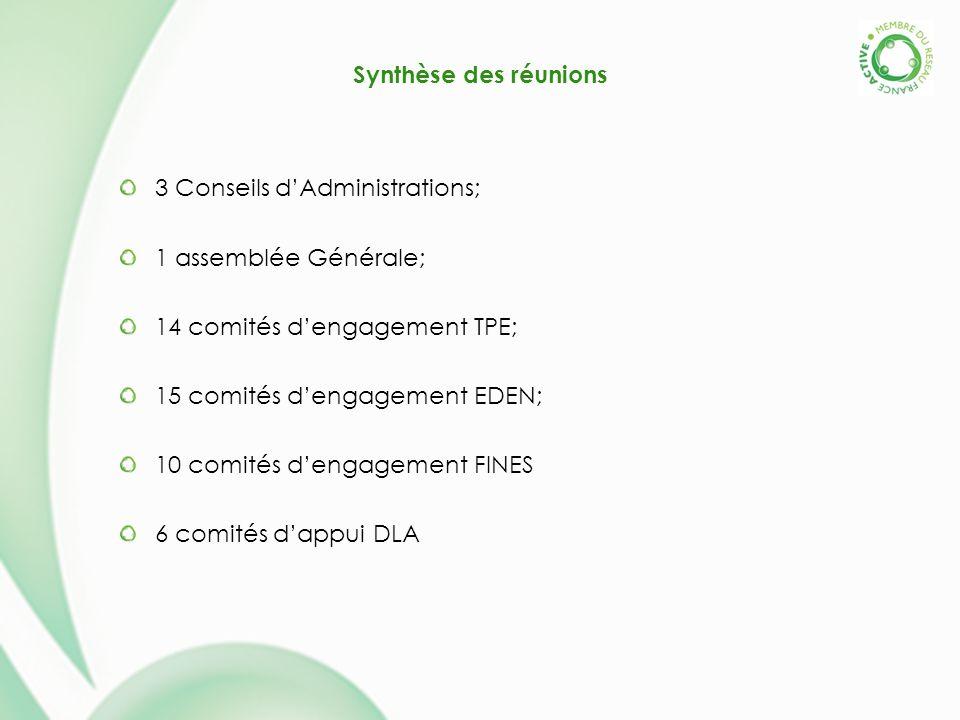 Synthèse des réunions 3 Conseils dAdministrations; 1 assemblée Générale; 14 comités dengagement TPE; 15 comités dengagement EDEN; 10 comités dengageme