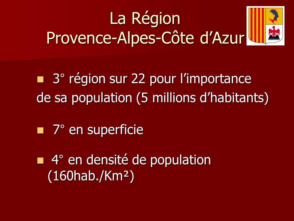 4° en densité de population (160hab./Km²) 4° en densité de population (160hab./Km²) 3° région sur 22 pour limportance 3° région sur 22 pour limportance de sa population (5 millions dhabitants) 7° en superficie 7° en superficie