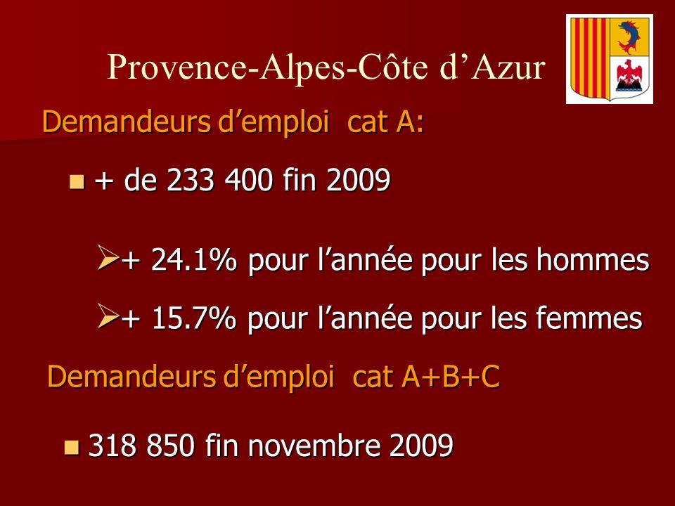 Demandeurs demploi cat A: Provence-Alpes-Côte dAzur + de 233 400 fin 2009 + de 233 400 fin 2009 + 24.1% pour lannée pour les hommes + 24.1% pour lannée pour les hommes + 15.7% pour lannée pour les femmes + 15.7% pour lannée pour les femmes Demandeurs demploi cat A+B+C 318 850 fin novembre 2009 318 850 fin novembre 2009