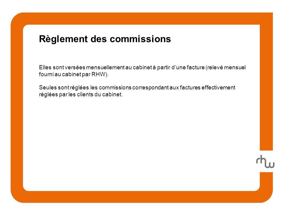 Règlement des commissions Elles sont versées mensuellement au cabinet à partir dune facture (relevé mensuel fourni au cabinet par RHW).