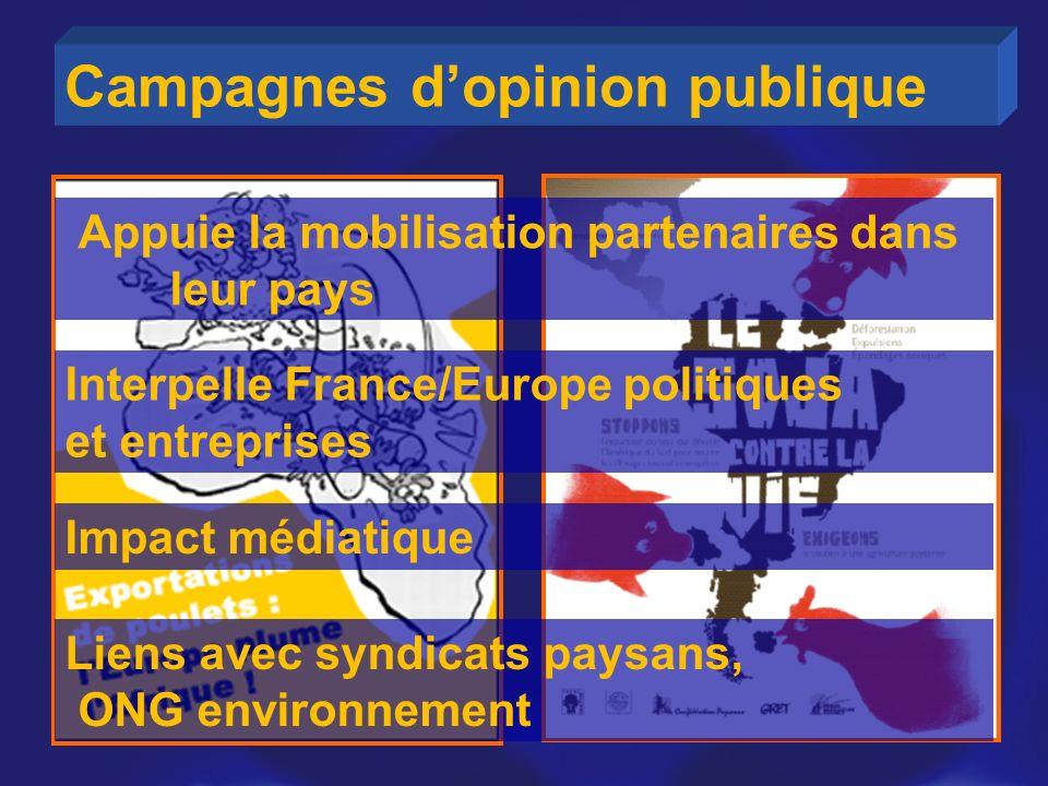 Campagnes dopinion publique Appuie la mobilisation partenaires dans leur pays Interpelle France/Europe politiques et entreprises Impact médiatique Lie