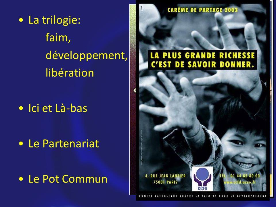 Les Fondements La trilogie: faim, développement, libération Ici et Là-bas Le Partenariat Le Pot Commun