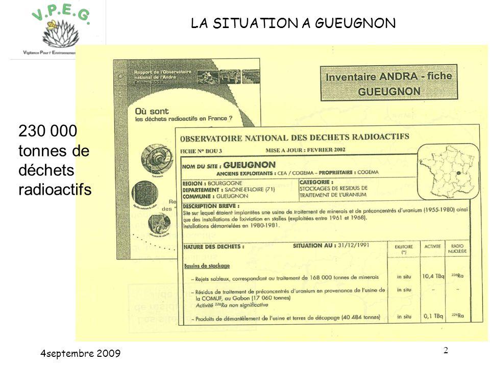 4septembre 2009 2 LA SITUATION A GUEUGNON 230 000 tonnes de déchets radioactifs