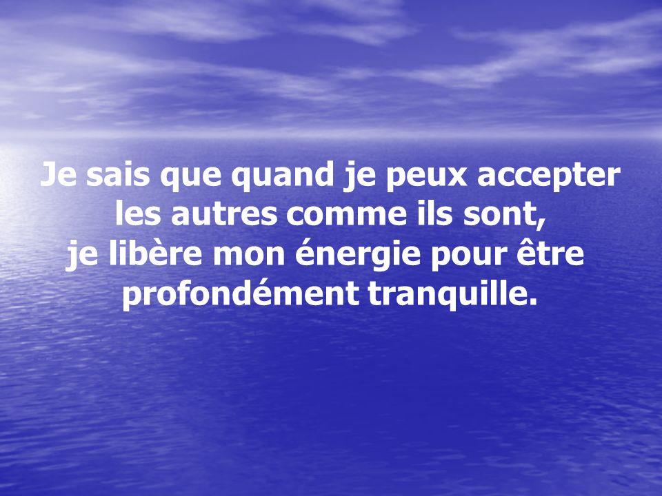 Je sais que quand je peux accepter les autres comme ils sont, je libère mon énergie pour être profondément tranquille.
