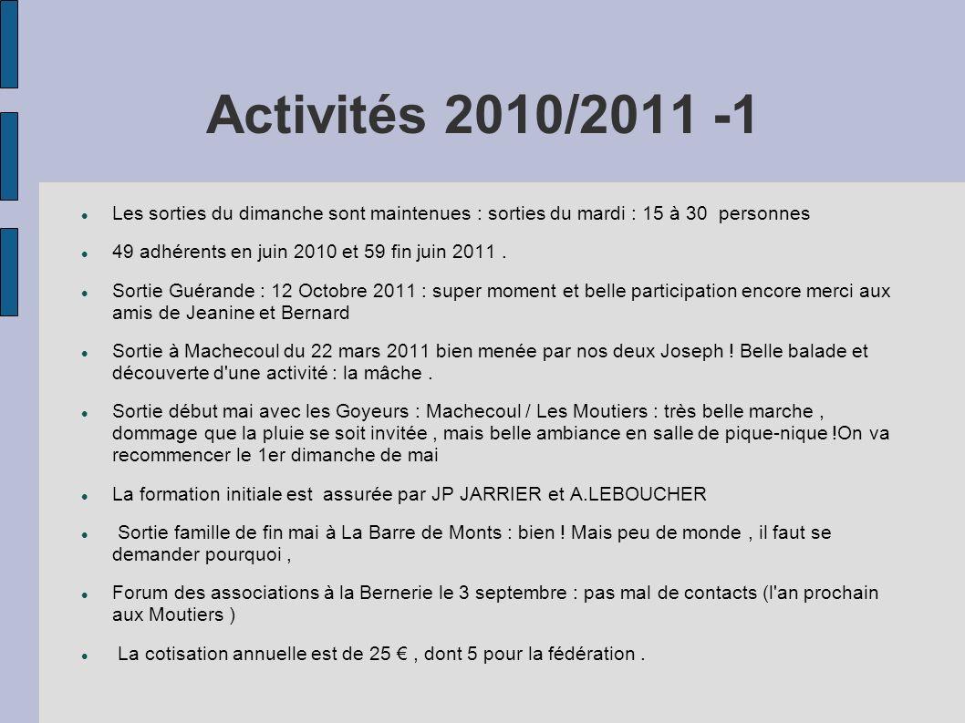 Activités 2010/2011 -1 Les sorties du dimanche sont maintenues : sorties du mardi : 15 à 30 personnes 49 adhérents en juin 2010 et 59 fin juin 2011. S