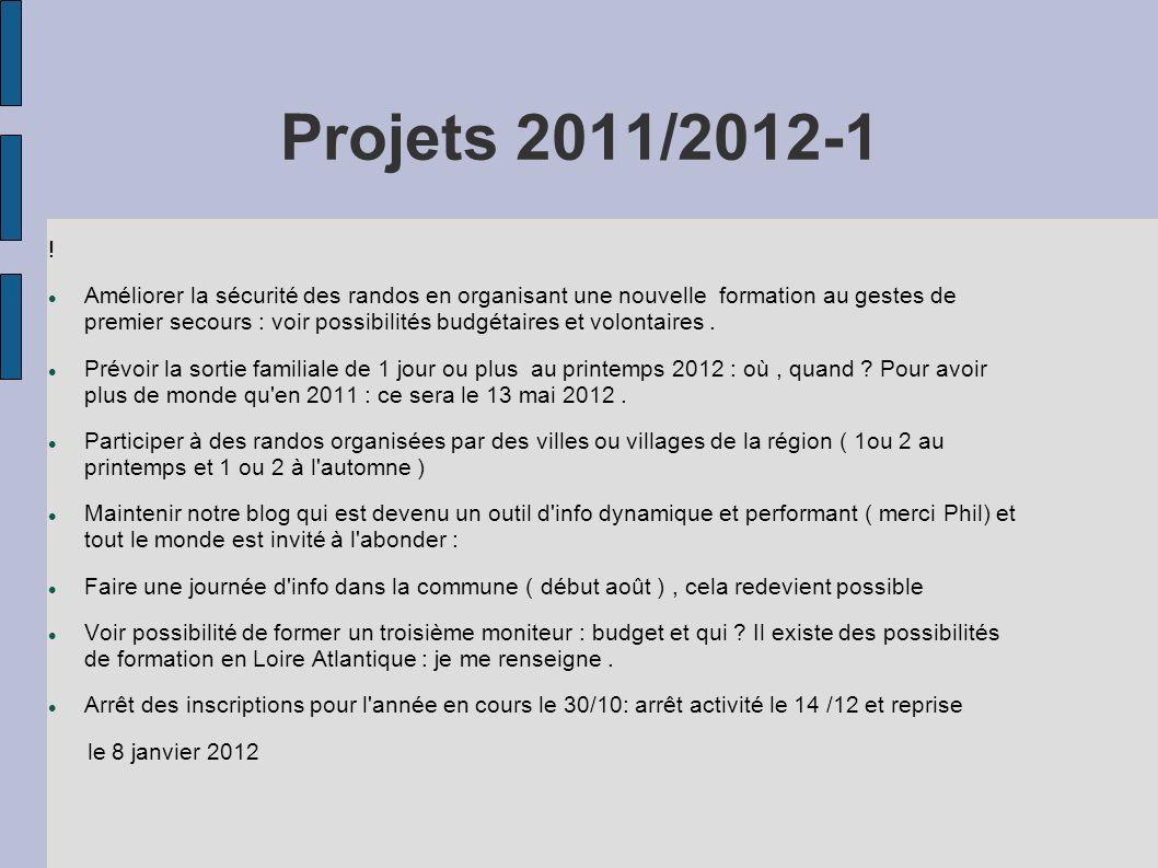 Projets 2011/2012-1 ! Améliorer la sécurité des randos en organisant une nouvelle formation au gestes de premier secours : voir possibilités budgétair