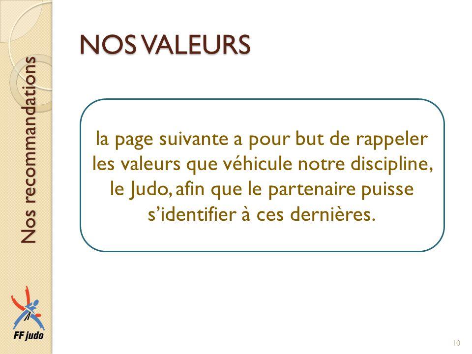 NOS VALEURS la page suivante a pour but de rappeler les valeurs que véhicule notre discipline, le Judo, afin que le partenaire puisse sidentifier à ce