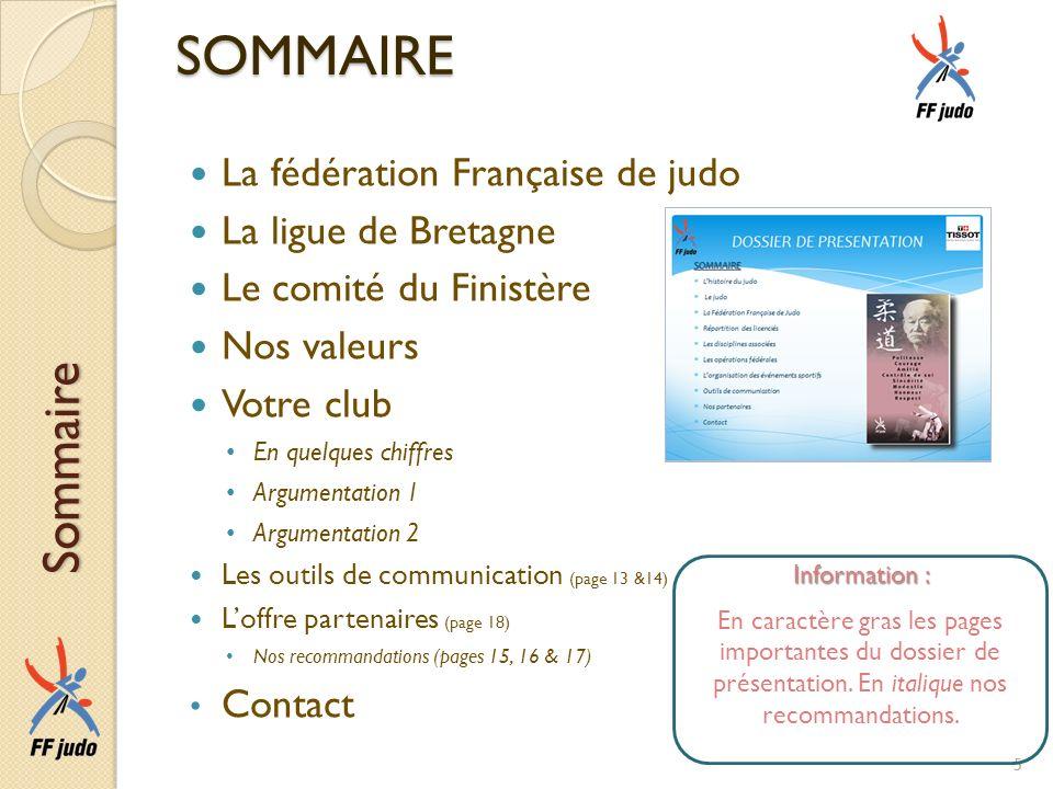SOMMAIRE La fédération Française de judo La ligue de Bretagne Le comité du Finistère Nos valeurs Votre club En quelques chiffres Argumentation 1 Argum