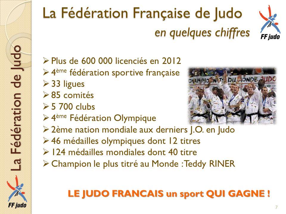 La Fédération Française de Judo en quelques chiffres Plus de 600 000 licenciés en 2012 4 ème fédération sportive française 33 ligues 85 comités 5 700