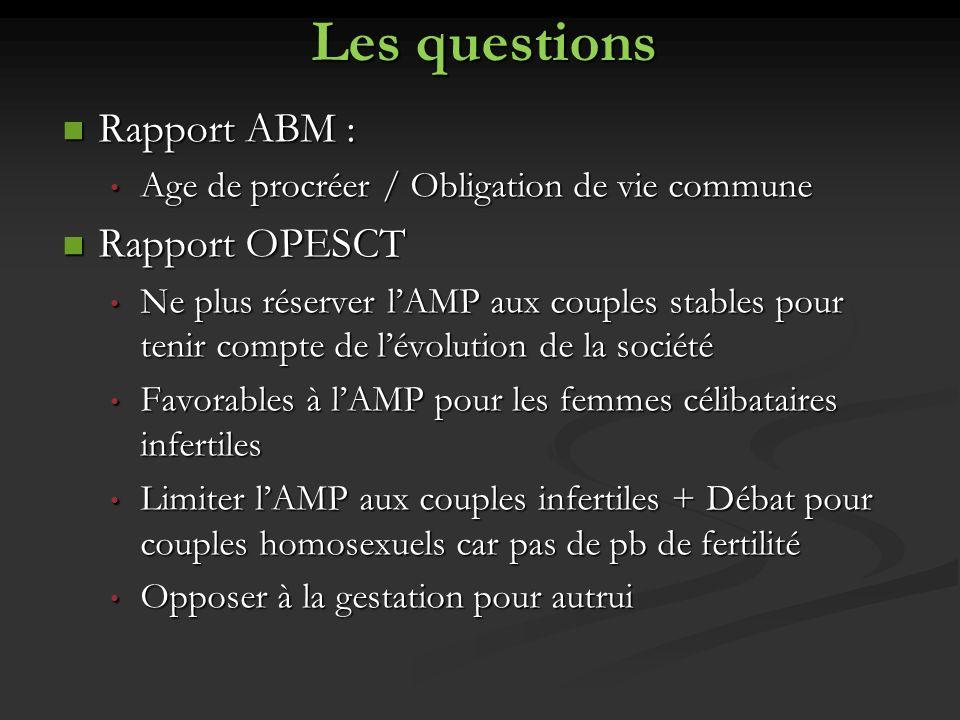 Les questions Rapport ABM : Rapport ABM : Age de procréer / Obligation de vie commune Age de procréer / Obligation de vie commune Rapport OPESCT Rappo