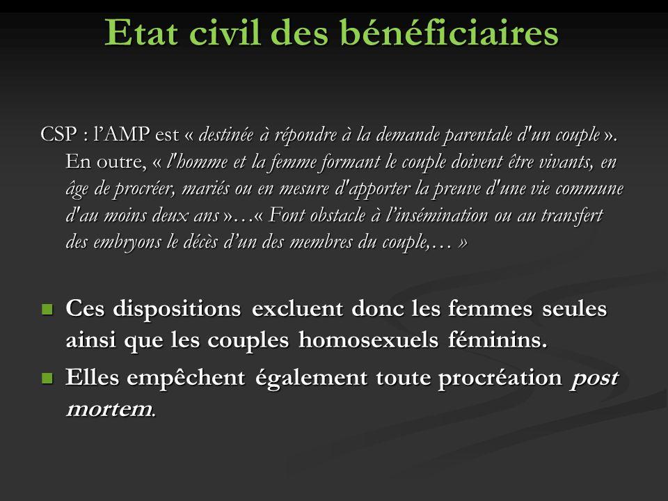 Etat civil des bénéficiaires CSP : lAMP est « destinée à répondre à la demande parentale d'un couple ». En outre, « l'homme et la femme formant le cou