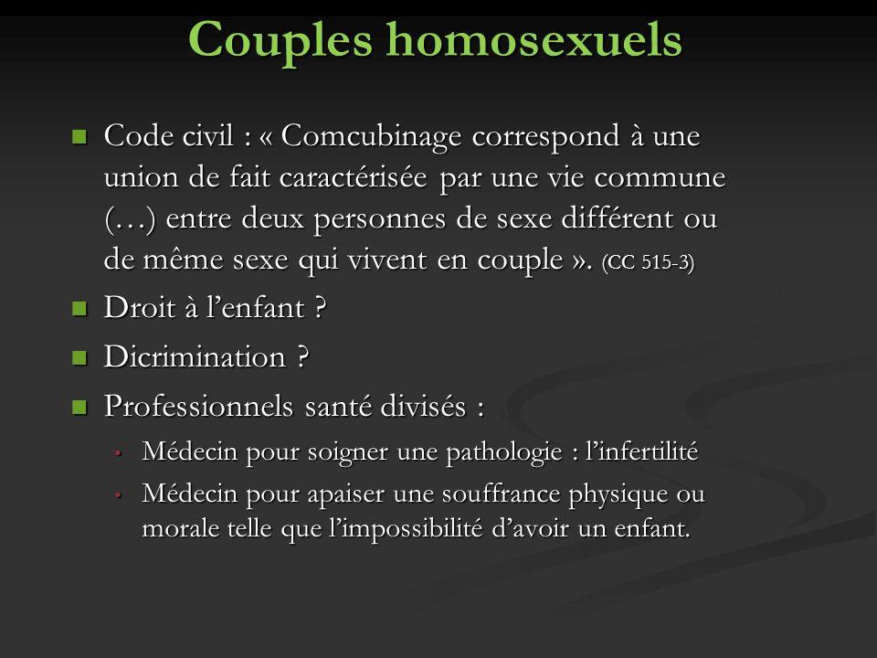 Couples homosexuels Code civil : « Comcubinage correspond à une union de fait caractérisée par une vie commune (…) entre deux personnes de sexe différ