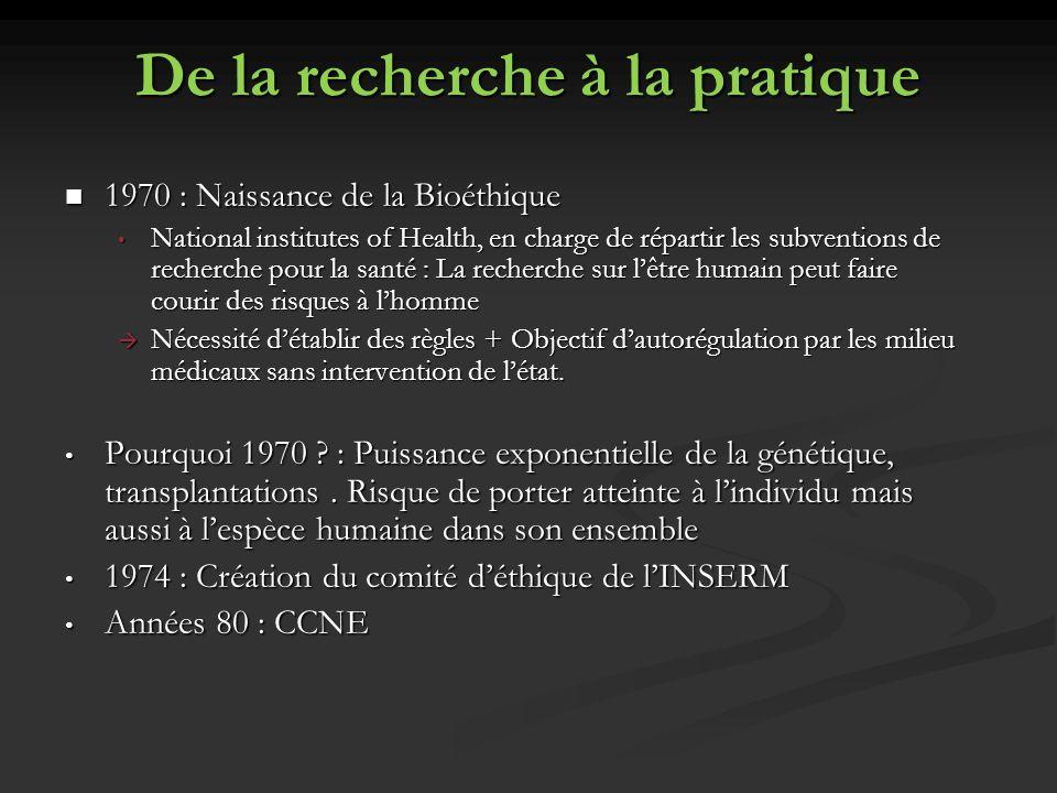 De la recherche à la pratique 1970 : Naissance de la Bioéthique 1970 : Naissance de la Bioéthique National institutes of Health, en charge de répartir