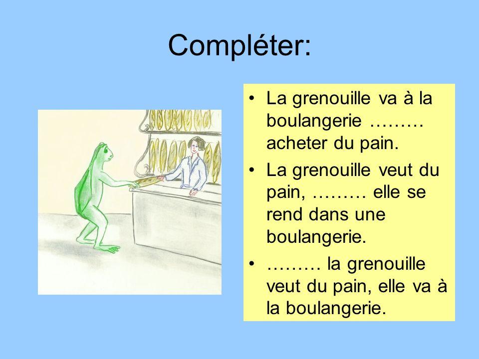 Compléter: La grenouille va à la boulangerie ……… acheter du pain. La grenouille veut du pain, ……… elle se rend dans une boulangerie. ……… la grenouille
