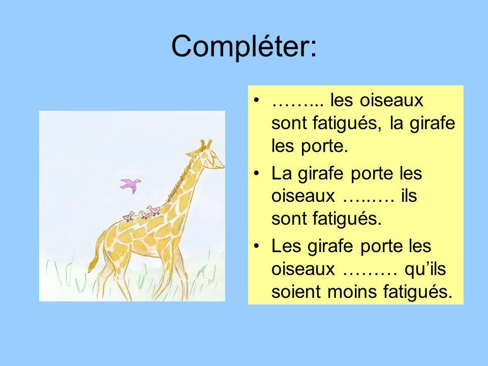 Compléter: ……... les oiseaux sont fatigués, la girafe les porte. La girafe porte les oiseaux …..…. ils sont fatigués. Les girafe porte les oiseaux ………