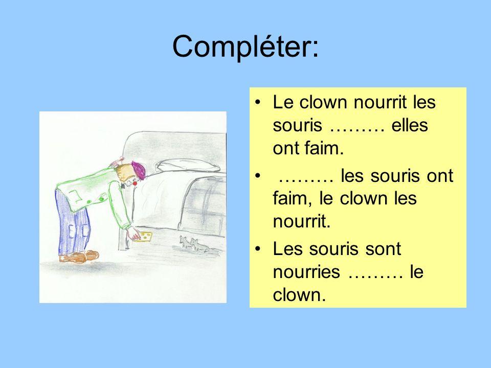 Compléter: Le clown nourrit les souris ……… elles ont faim. ……… les souris ont faim, le clown les nourrit. Les souris sont nourries ……… le clown.