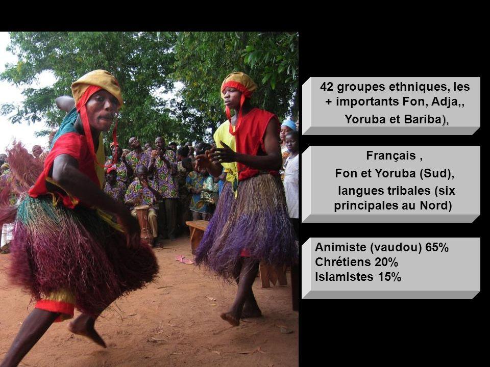 Français, Fon et Yoruba (Sud), langues tribales (six principales au Nord) Langue officielle Animiste (vaudou) 65% Chrétiens 20% Islamistes 15% Religio