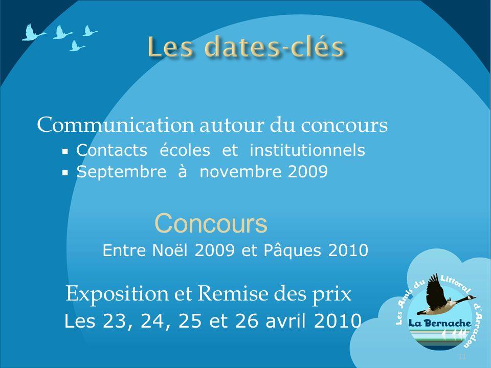 Communication autour du concours Contacts écoles et institutionnels Septembre à novembre 2009 Concours Entre Noël 2009 et Pâques 2010 Exposition et Re