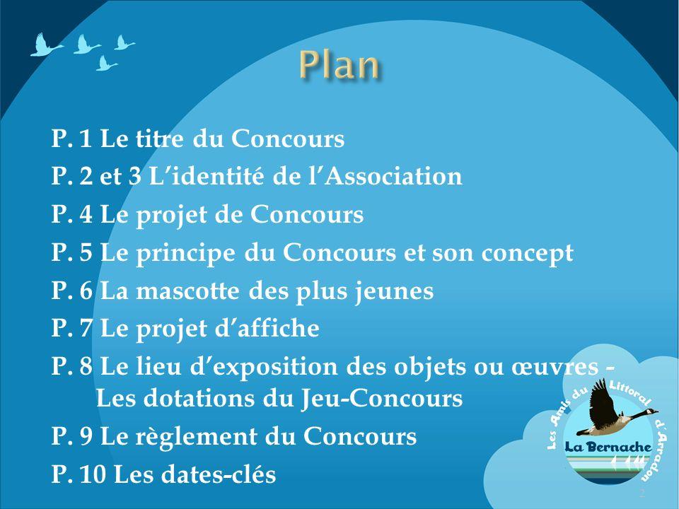 P. 1 Le titre du Concours P. 2 et 3 Lidentité de lAssociation P. 4 Le projet de Concours P. 5 Le principe du Concours et son concept P. 6 La mascotte