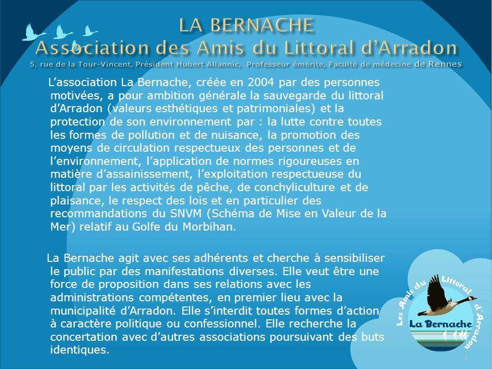 Lassociation La Bernache, créée en 2004 par des personnes motivées, a pour ambition générale la sauvegarde du littoral dArradon (valeurs esthétiques e