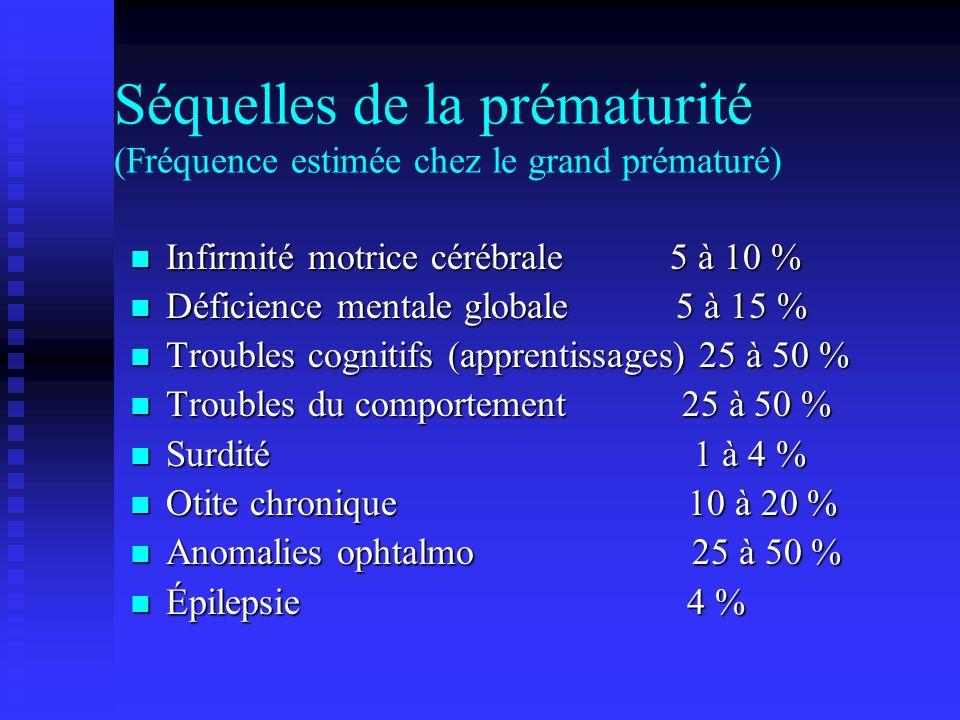 Séquelles de la prématurité (Fréquence estimée chez le grand prématuré) Infirmité motrice cérébrale 5 à 10 % Infirmité motrice cérébrale 5 à 10 % Défi