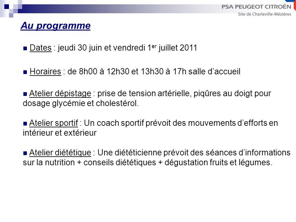Dates : jeudi 30 juin et vendredi 1 er juillet 2011 Horaires : de 8h00 à 12h30 et 13h30 à 17h salle daccueil Atelier dépistage : prise de tension artérielle, piqûres au doigt pour dosage glycémie et cholestérol.