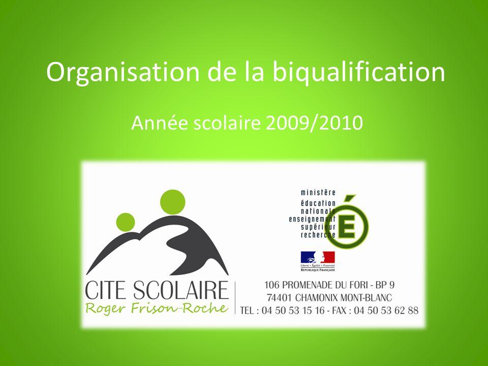 Organisation de la biqualification Année scolaire 2009/2010