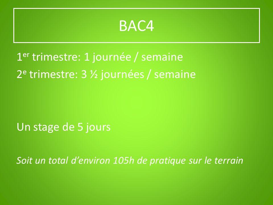BAC4 1 er trimestre: 1 journée / semaine 2 e trimestre: 3 ½ journées / semaine Un stage de 5 jours Soit un total denviron 105h de pratique sur le terr