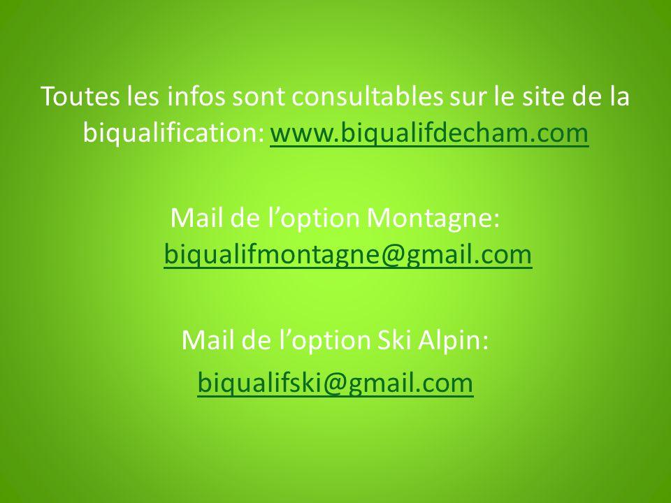 Toutes les infos sont consultables sur le site de la biqualification: www.biqualifdecham.comwww.biqualifdecham.com Mail de loption Montagne: biqualifm