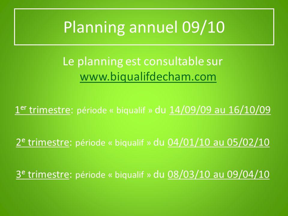 Planning annuel 09/10 Le planning est consultable sur www.biqualifdecham.com www.biqualifdecham.com 1 er trimestre: période « biqualif » du 14/09/09 a