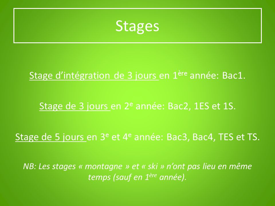 SECTION PROFESSIONNELLE Bac1 / Bac2 / Bac3 / Bac4