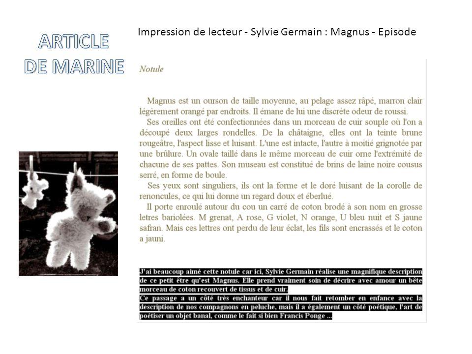 Impression de lecteur - Sylvie Germain : Magnus - Episode