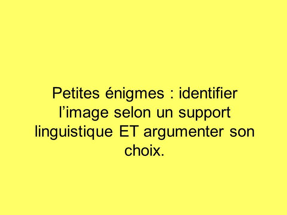 Petites énigmes : identifier limage selon un support linguistique ET argumenter son choix.