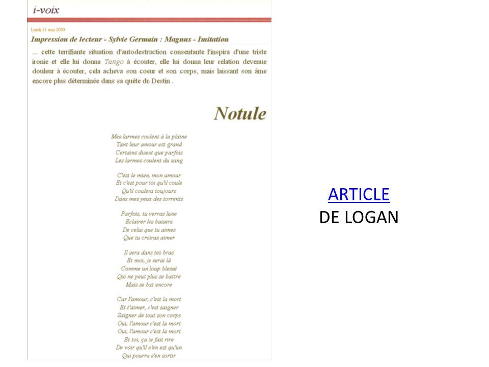 ARTICLE DE LOGAN