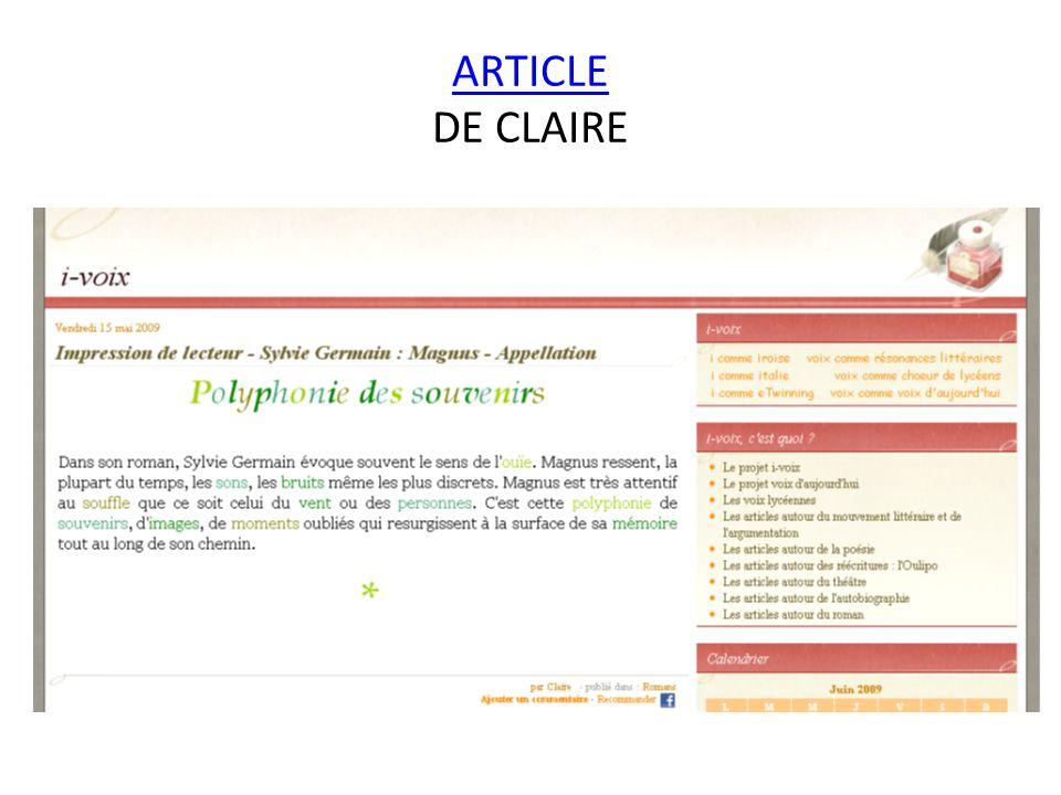 ARTICLE ARTICLE DE CLAIRE