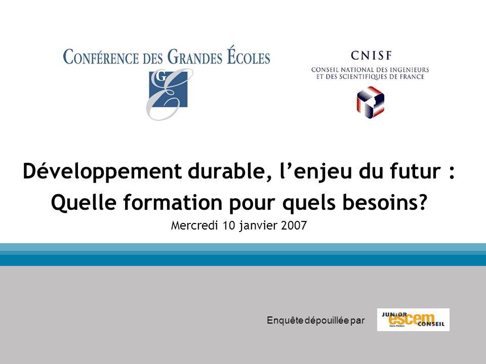 Développement durable, lenjeu du futur : Quelle formation pour quels besoins? Mercredi 10 janvier 2007 Enquête dépouillée par