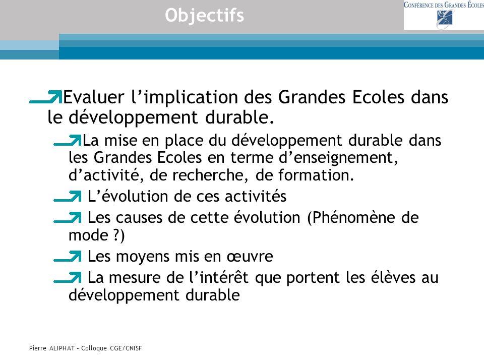 Pierre ALIPHAT – Colloque CGE/CNISF Objectifs Evaluer limplication des Grandes Ecoles dans le développement durable. La mise en place du développement