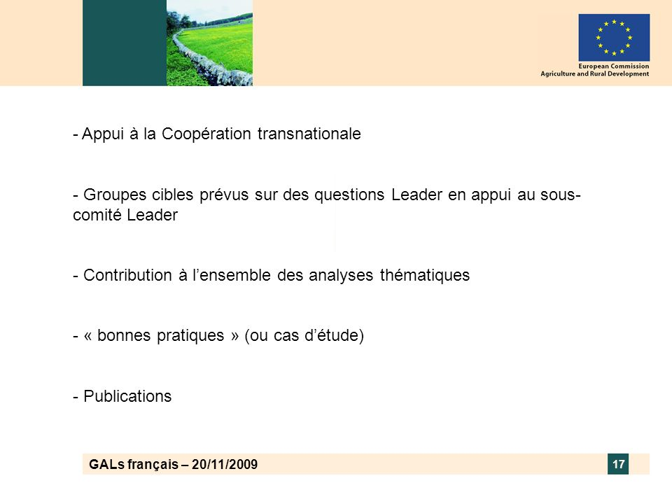 GALs français – 20/11/2009 17 - Appui à la Coopération transnationale - Groupes cibles prévus sur des questions Leader en appui au sous- comité Leader - Contribution à lensemble des analyses thématiques - « bonnes pratiques » (ou cas détude) - Publications